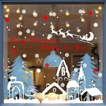 Schneeflocken Fensterdeko Weihnachten Aufkleber Schneeflocken Fensterbild Weihnachtsdeko Weihnachten Fensterdeko Set DIY Weihnachtsdeko Winter Dekoration für Türen Schaufenster PVC Fensterdeko Set - 1