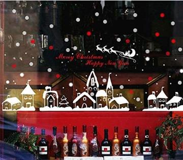 Schneeflocken Fensterdeko Weihnachten Aufkleber Schneeflocken Fensterbild Weihnachtsdeko Weihnachten Fensterdeko Set DIY Weihnachtsdeko Winter Dekoration für Türen Schaufenster PVC Fensterdeko Set - 5