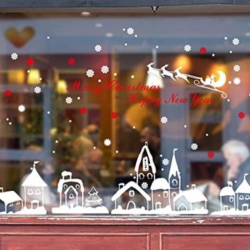 Schneeflocken Fensterdeko Weihnachten Aufkleber Schneeflocken Fensterbild Weihnachtsdeko Weihnachten Fensterdeko Set DIY Weihnachtsdeko Winter Dekoration für Türen Schaufenster PVC Fensterdeko Set - 7