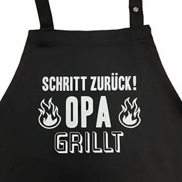 Schritt zurück! Opa grillt - Grillschürze für Männer lustig, Kochschürze - Geschenk Geschenkidee Opa Geburtstag Männer Ruhestand - 1