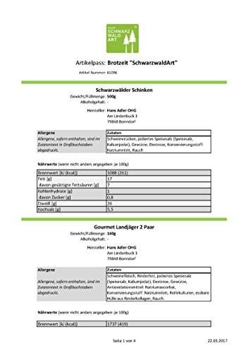 Schwarzwald Art Adler Präsentkorb Geschenkkorb- Brotzeit