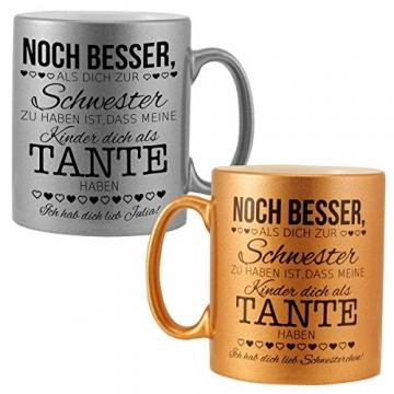 Schwesterngeschenk – Becher mit Spruch (Gold ohne Name): persönliches Geschenk für die Schwester – Kaffeebecher in Silber oder Gold mit Deinem Wunschnamen personalisiert - 2