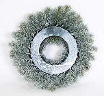 Seidenblumen Roß Tannenkranz 34cm Schneeoptik DP künstlicher Kranz Tanne Kunststoff 100% PE Spritzguss - 2