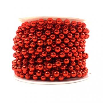 Sepkina Perlenband Christbaumkette Christbaum Perlenkette Perlengirlande Perlenschnur Weihnachten Advent Hochzeit Deko Tischdeko Meterware rot 0,90€/M (S-P10-04-red) (0,90€/m) - 2