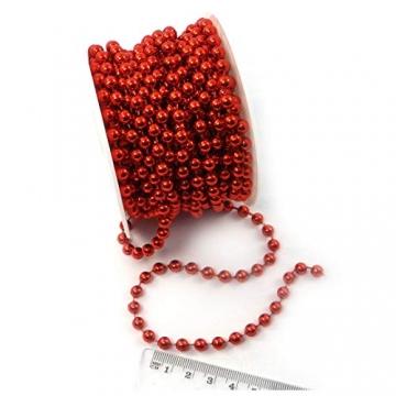 Sepkina Perlenband Christbaumkette Christbaum Perlenkette Perlengirlande Perlenschnur Weihnachten Advent Hochzeit Deko Tischdeko Meterware rot 0,90€/M (S-P10-04-red) (0,90€/m) - 3