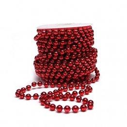 Sepkina Perlenband Christbaumkette Christbaum Perlenkette Perlengirlande Perlenschnur Weihnachten Advent Hochzeit Deko Tischdeko Meterware rot 0,90€/M (S-P10-04-red) (0,90€/m) - 1