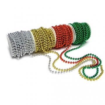 Sepkina Perlenband Christbaumkette Christbaum Perlenkette Perlengirlande Perlenschnur Weihnachten Advent Hochzeit Deko Tischdeko Meterware rot 0,90€/M (S-P10-04-red) (0,90€/m) - 4