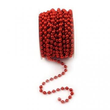 Sepkina Perlenband Christbaumkette Christbaum Perlenkette Perlengirlande Perlenschnur Weihnachten Advent Hochzeit Deko Tischdeko Meterware rot 0,90€/M (S-P10-04-red) (0,90€/m) - 5