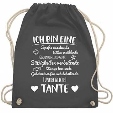 Shirtracer Schwester & Tante - Ich bin eine Tante - Unisize - Dunkelgrau - geschenk patentante - WM110 - Turnbeutel und Stoffbeutel aus Baumwolle - 1