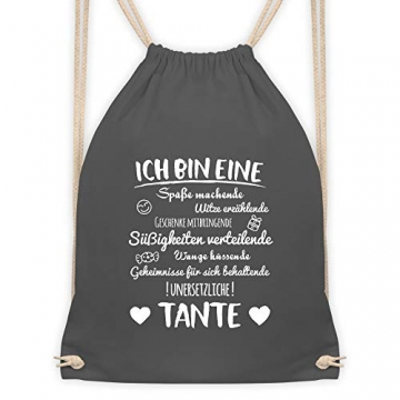 Shirtracer Schwester & Tante - Ich bin eine Tante - Unisize - Dunkelgrau - geschenk patentante - WM110 - Turnbeutel und Stoffbeutel aus Baumwolle - 6