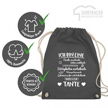 Shirtracer Schwester & Tante - Ich bin eine Tante - Unisize - Dunkelgrau - geschenk patentante - WM110 - Turnbeutel und Stoffbeutel aus Baumwolle - 7