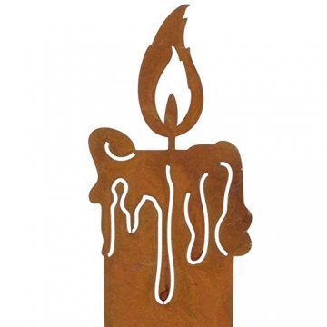 SIDCO Kerze Edelrost 3 x Rostoptik Kerzen rustikal Kerzenset Rostdeko Garten Deko - 4