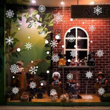 Siebwin Weihnachtsdeko Fenster, Schneeflocken Fensterbild, Fensterbilder Weihnachten Selbstklebend, Winter- Dekoration, Weihnachten Fenstersticker (4 Blätter) - 2