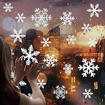 Siebwin Weihnachtsdeko Fenster, Schneeflocken Fensterbild, Fensterbilder Weihnachten Selbstklebend, Winter- Dekoration, Weihnachten Fenstersticker (4 Blätter) - 3