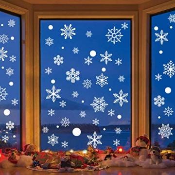 Siebwin Weihnachtsdeko Fenster, Schneeflocken Fensterbild, Fensterbilder Weihnachten Selbstklebend, Winter- Dekoration, Weihnachten Fenstersticker (4 Blätter) - 4