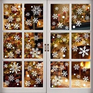Siebwin Weihnachtsdeko Fenster, Schneeflocken Fensterbild, Fensterbilder Weihnachten Selbstklebend, Winter- Dekoration, Weihnachten Fenstersticker (4 Blätter) - 1