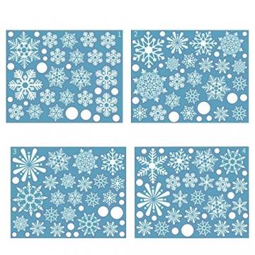 Siebwin Weihnachtsdeko Fenster, Schneeflocken Fensterbild, Fensterbilder Weihnachten Selbstklebend, Winter- Dekoration, Weihnachten Fenstersticker (4 Blätter) - 5