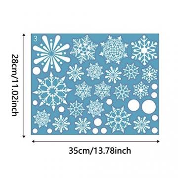Siebwin Weihnachtsdeko Fenster, Schneeflocken Fensterbild, Fensterbilder Weihnachten Selbstklebend, Winter- Dekoration, Weihnachten Fenstersticker (4 Blätter) - 6