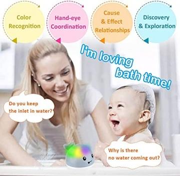 Sinoeem Baby Wasserspielzeug Badewanne, Whale Spray Induction Schwimmende Baden Spielzeug mit Licht, Pool Wassersprühspielzeug für ab 1 Jahr Baby Kinder Kleinkinder Party Geschenk (Grau) - 4