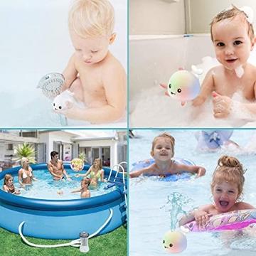 Sinoeem Baby Wasserspielzeug Badewanne, Whale Spray Induction Schwimmende Baden Spielzeug mit Licht, Pool Wassersprühspielzeug für ab 1 Jahr Baby Kinder Kleinkinder Party Geschenk (Grau) - 7