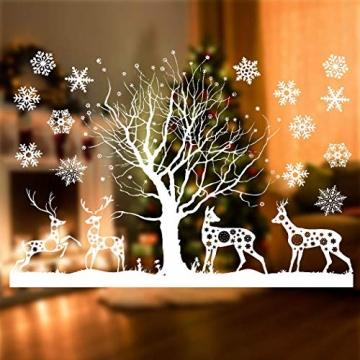 Sinwind Weihnachten Fenstersticker, Fensteraufkleber PVC Fensterbilder Weihnachten Fensterdeko selbstklebend Fensterfolie Weihnachtsdekoration (110cmX38cm) (Weihnachten 8) - 2