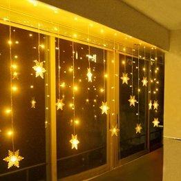SMITHROAD LED Lichtervorhang Schneeflocke für Weihanchten Party IP44 24V Niederspannung mit 8 Modi 94er Lichterkette Weihnachtsbeleuchtung für Innen Außen Fenster Deko 3,6M x 1M Warmweiß - 1