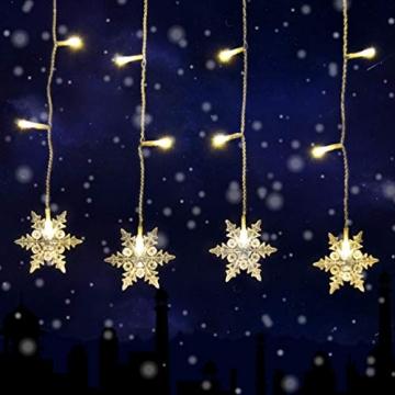 SMITHROAD LED Lichtervorhang Schneeflocke für Weihanchten Party IP44 24V Niederspannung mit 8 Modi 94er Lichterkette Weihnachtsbeleuchtung für Innen Außen Fenster Deko 3,6M x 1M Warmweiß - 5