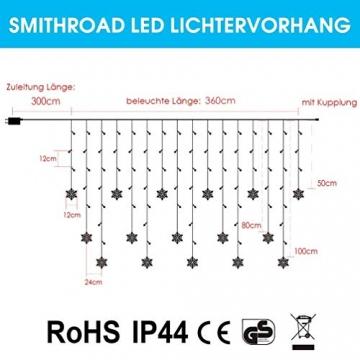 SMITHROAD LED Lichtervorhang Schneeflocke für Weihanchten Party IP44 24V Niederspannung mit 8 Modi 94er Lichterkette Weihnachtsbeleuchtung für Innen Außen Fenster Deko 3,6M x 1M Warmweiß - 6