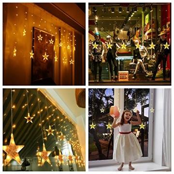 SMITHROAD LED Sternen Lichterkette Warmweiß Lichtervorhang mit Fernbedienung Timer 31V Niederspannung IP44 mit 8 Lichteffekte für Innen Außen Weihnachtsbeleuchtung Fenster Deko 2,2M x 1M(LxB) - 2