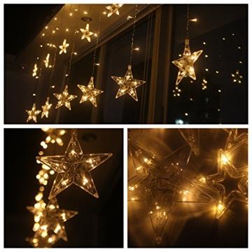 SMITHROAD LED Sternen Lichterkette Warmweiß Lichtervorhang mit Fernbedienung Timer 31V Niederspannung IP44 mit 8 Lichteffekte für Innen Außen Weihnachtsbeleuchtung Fenster Deko 2,2M x 1M(LxB) - 3