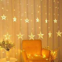 SMITHROAD LED Sternen Lichterkette Warmweiß Lichtervorhang mit Fernbedienung Timer 31V Niederspannung IP44 mit 8 Lichteffekte für Innen Außen Weihnachtsbeleuchtung Fenster Deko 2,2M x 1M(LxB) - 1