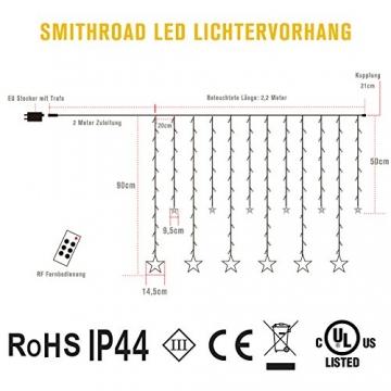 SMITHROAD LED Sternen Lichterkette Warmweiß Lichtervorhang mit Fernbedienung Timer 31V Niederspannung IP44 mit 8 Lichteffekte für Innen Außen Weihnachtsbeleuchtung Fenster Deko 2,2M x 1M(LxB) - 7