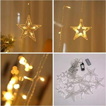 SMITHROAD LED Sternen Lichterkette Warmweiß Lichtervorhang mit Fernbedienung Timer 31V Niederspannung IP44 mit 8 Lichteffekte für Innen Außen Weihnachtsbeleuchtung Fenster Deko 2,2M x 1M(LxB) - 8