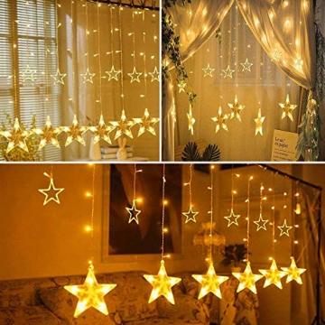 SMITHROAD LED Sternen Lichterkette Warmweiß Lichtervorhang mit Fernbedienung Timer 31V Niederspannung IP44 mit 8 Lichteffekte für Innen Außen Weihnachtsbeleuchtung Fenster Deko 2,2M x 1M(LxB) - 9