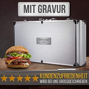 Smyla Personalisierter Grillkoffer mit Gravur   Premium Grillbesteck aus Edelstahl mit Wunsch-Namen   professionelles Grill-Zubehör als Geschenk für Männer - Silber, 15-Teilig - 2