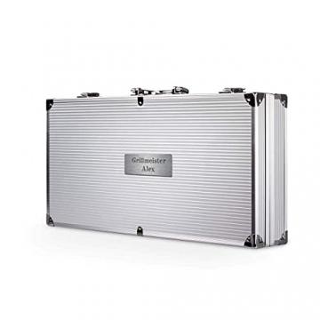 Smyla Personalisierter Grillkoffer mit Gravur   Premium Grillbesteck aus Edelstahl mit Wunsch-Namen   professionelles Grill-Zubehör als Geschenk für Männer - Silber, 15-Teilig - 4