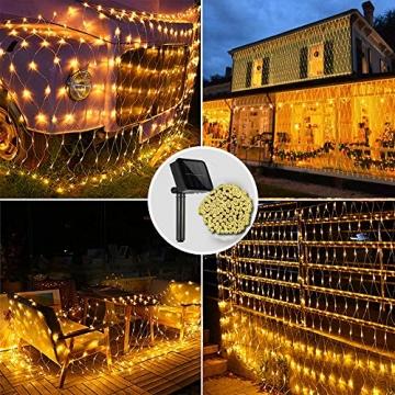 Solar Außen Lichternetz, Lichterkette Netz Lichtervorhang 1.5x1.5m Weihnachten Lichterkette Verknüpfbar mit Fernbedienung & Timer 8 Modi für Zimmer Weihnachten Deko(Warmweiß) - 2