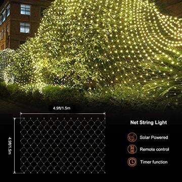 Solar Außen Lichternetz, Lichterkette Netz Lichtervorhang 1.5x1.5m Weihnachten Lichterkette Verknüpfbar mit Fernbedienung & Timer 8 Modi für Zimmer Weihnachten Deko(Warmweiß) - 3