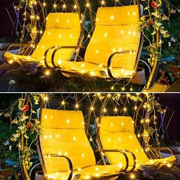 Solar Außen Lichternetz, Lichterkette Netz Lichtervorhang 1.5x1.5m Weihnachten Lichterkette Verknüpfbar mit Fernbedienung & Timer 8 Modi für Zimmer Weihnachten Deko(Warmweiß) - 4