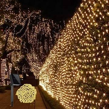 Solar Außen Lichternetz, Lichterkette Netz Lichtervorhang 1.5x1.5m Weihnachten Lichterkette Verknüpfbar mit Fernbedienung & Timer 8 Modi für Zimmer Weihnachten Deko(Warmweiß) - 1