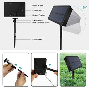 Solar Außen Lichternetz, Lichterkette Netz Lichtervorhang 1.5x1.5m Weihnachten Lichterkette Verknüpfbar mit Fernbedienung & Timer 8 Modi für Zimmer Weihnachten Deko(Warmweiß) - 7