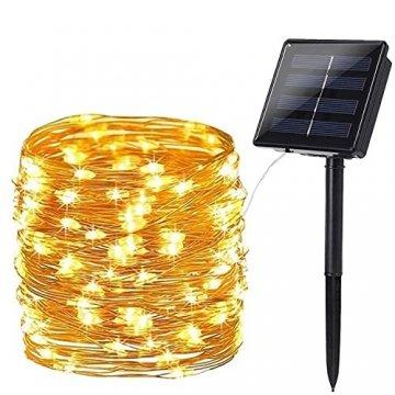 Solar Lichterkette Aussen, BrizLabs 24M 240 LED Außen Lichterkette Wasserdicht Kupferdraht Solarlichterkette 8 Modi Deko für Weihnachten Garten, Balkon, Terrasse, Bäume, Hochzeit, Party, Warmweiß - 1