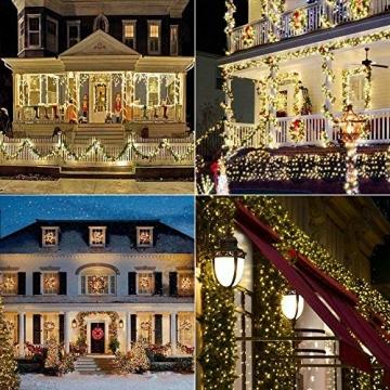 Solar Lichterkette Aussen, BrizLabs 24M 240 LED Außen Lichterkette Wasserdicht Kupferdraht Solarlichterkette 8 Modi Deko für Weihnachten Garten, Balkon, Terrasse, Bäume, Hochzeit, Party, Warmweiß - 6