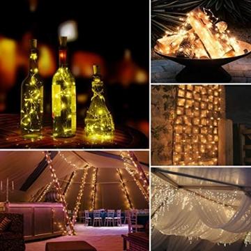 Solar Lichterkette Aussen,DeepDream 20M 200 LED 8 Modus Lichterkette Außen Wasserdicht KupferDraht Weihnachtsbeleuchtung für Garten, Balkon,Terrasse, Hochzeit, Party (Warmweiß) [Energieklasse A+] - 3
