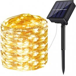 Solar Lichterkette Aussen,DeepDream 20M 200 LED 8 Modus Lichterkette Außen Wasserdicht KupferDraht Weihnachtsbeleuchtung für Garten, Balkon,Terrasse, Hochzeit, Party (Warmweiß) [Energieklasse A+] - 1