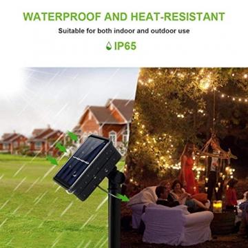 Solar Lichterkette Aussen,DeepDream 20M 200 LED 8 Modus Lichterkette Außen Wasserdicht KupferDraht Weihnachtsbeleuchtung für Garten, Balkon,Terrasse, Hochzeit, Party (Warmweiß) [Energieklasse A+] - 4