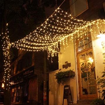 Solar Lichterkette Aussen,DeepDream 20M 200 LED 8 Modus Lichterkette Außen Wasserdicht KupferDraht Weihnachtsbeleuchtung für Garten, Balkon,Terrasse, Hochzeit, Party (Warmweiß) [Energieklasse A+] - 7