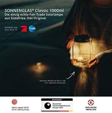 SONNENGLAS Classic 1000ml   Die Original Solarlampe/Solar-Laterne im Einmachglas aus Südafrika (inkl. USB Ladefunktion)   warmweiß   Fair Trade   Bekannt aus Pro7 Galileo - 2
