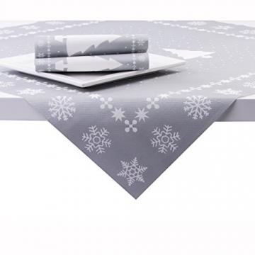 Sovie Home Tischdecke White Tree in Silber | Linclass® Airlaid | Weihnachten Tannenbaum Tischtuch Mitteldecke | 80x80 cm - 2