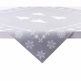 Sovie Home Tischdecke White Tree in Silber   Linclass® Airlaid   Weihnachten Tannenbaum Tischtuch Mitteldecke   80x80 cm - 1